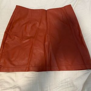 Button down leather skirt